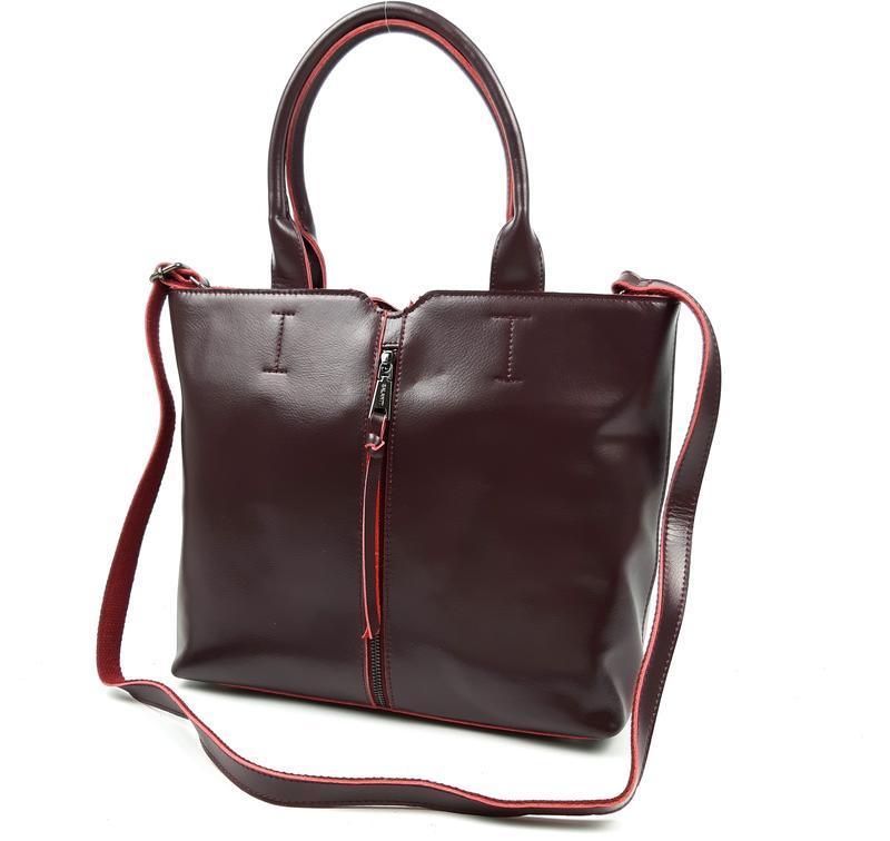 Женская кожаная сумка galanty бордовая - Фото 2