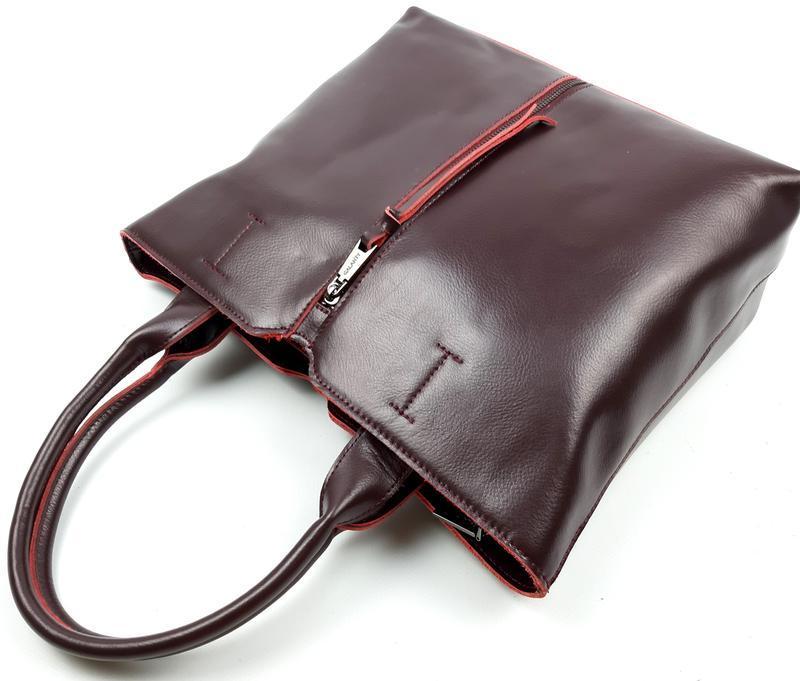 Женская кожаная сумка galanty бордовая - Фото 3