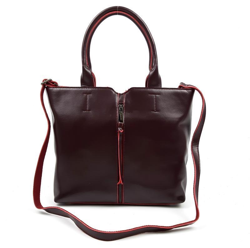 Женская кожаная сумка galanty бордовая - Фото 6