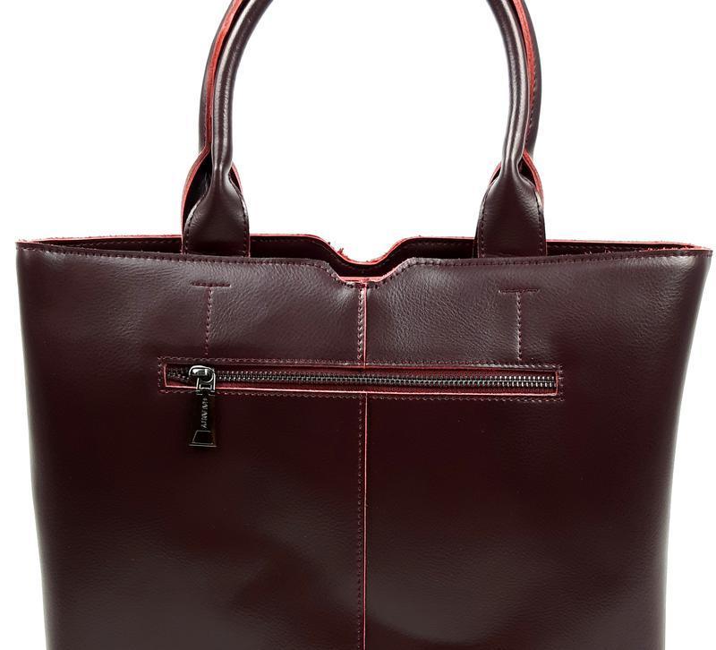 Женская кожаная сумка galanty бордовая - Фото 7