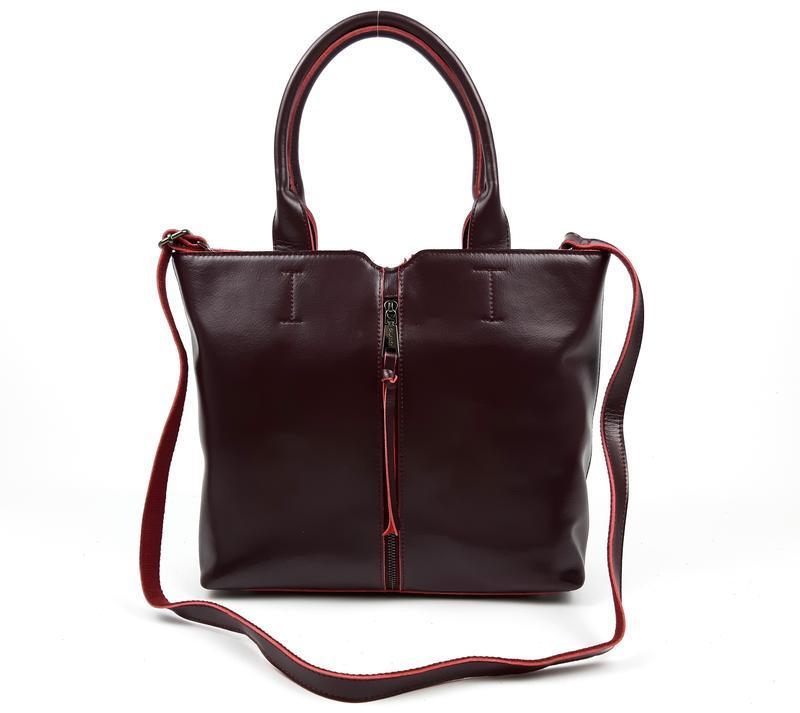 Женская кожаная сумка galanty бордовая - Фото 9