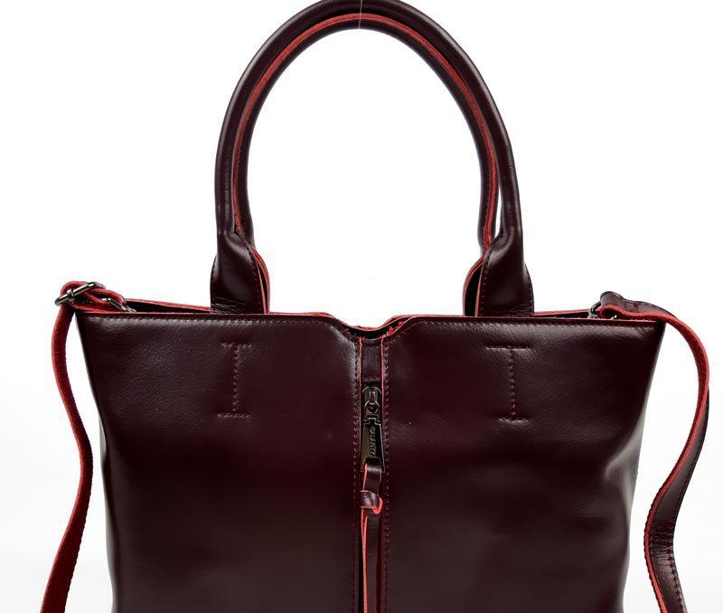 Женская кожаная сумка galanty бордовая - Фото 10