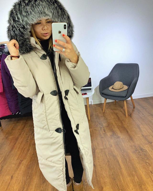 Длинная зимняя куртка с капюшоном, 4 цвета
