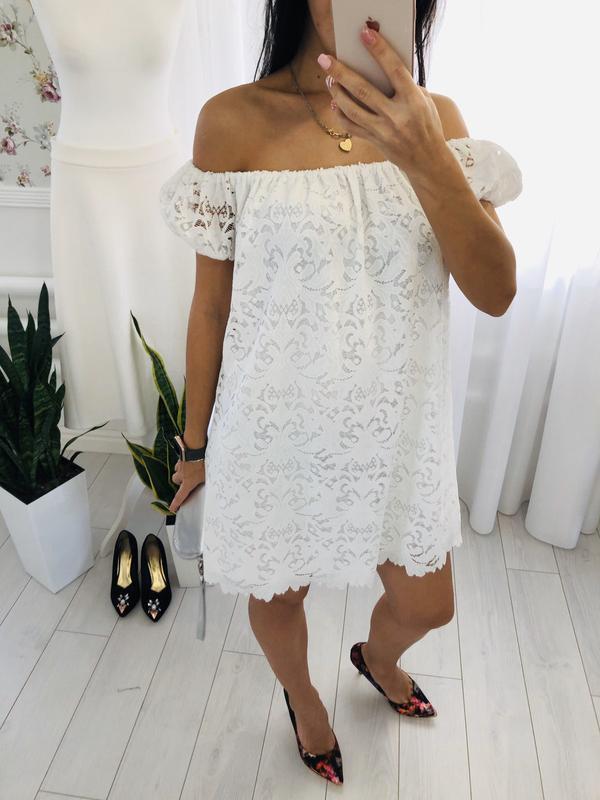 Белое платье сарафан из кружева new look