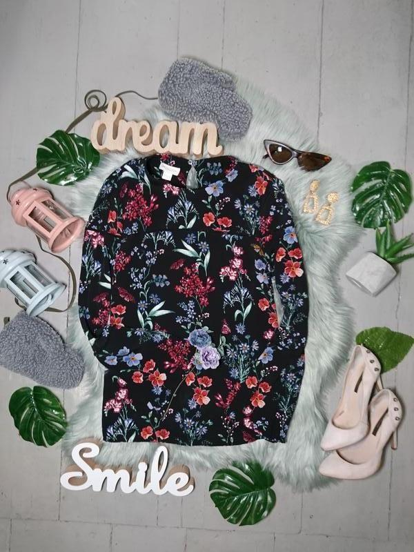 Актуальная блуза с расклешенными рукавами цветочный принт №37max