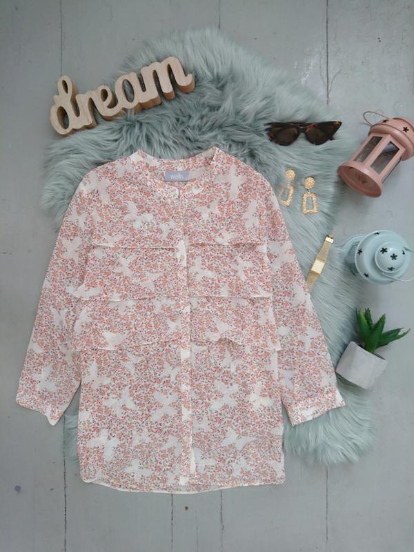 Актуальная винтажная шифоновая блуза с рюшей цветочный принт №...