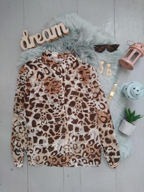 Актуальная лёгкая шифоновая блуза в леопардовый принт №24max