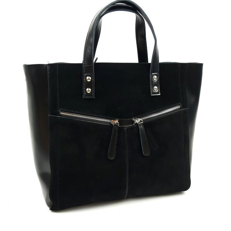 Большая кожаная сумка со вставками из замши черная