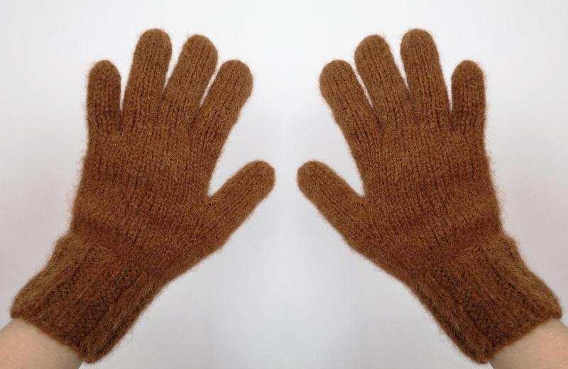 Перчатки вязаные альпака теплые ручная работа