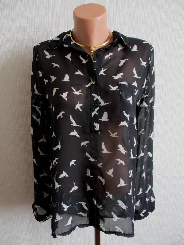 Шифоновая блузка принт птички cameo rose