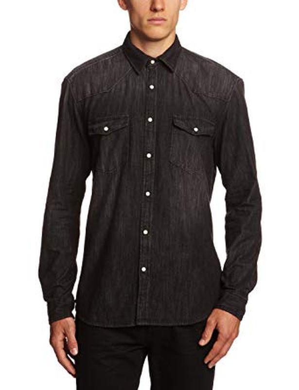 Стильная деним рубашка на кнопках слим фит