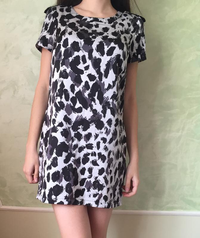 Платье туника h&m леопард р.xs/s анималистический принт прямог...