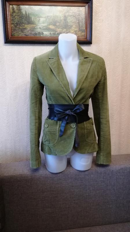 Пиджак цвета хаки микровельвет размер 35 h&m