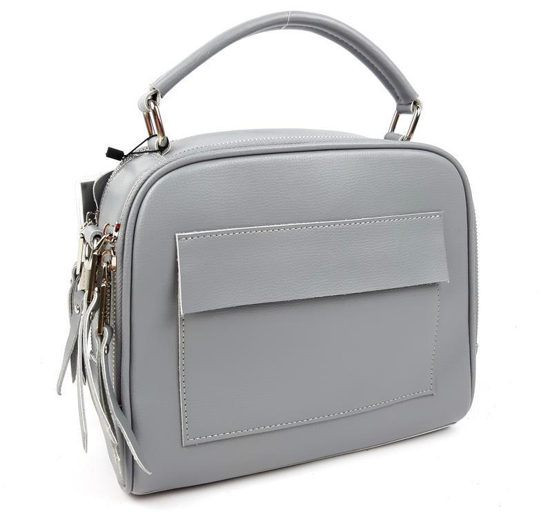 Классическая кожаная сумка серая galanty - Фото 2