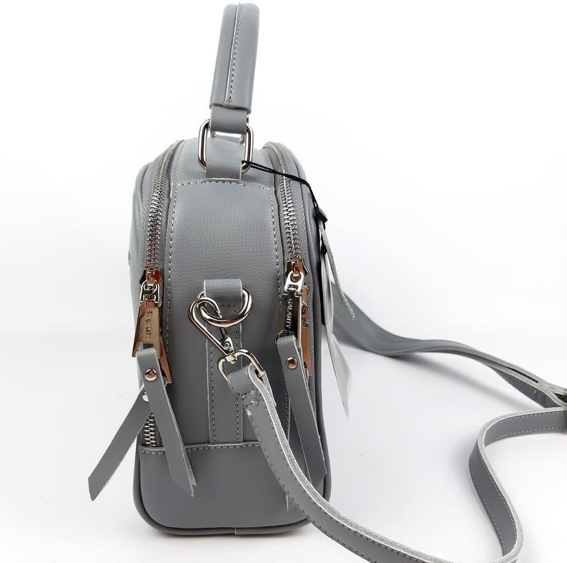 Классическая кожаная сумка серая galanty - Фото 3