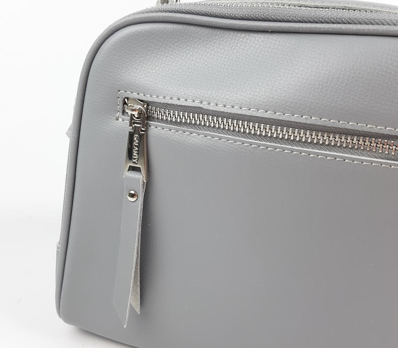Классическая кожаная сумка серая galanty - Фото 4