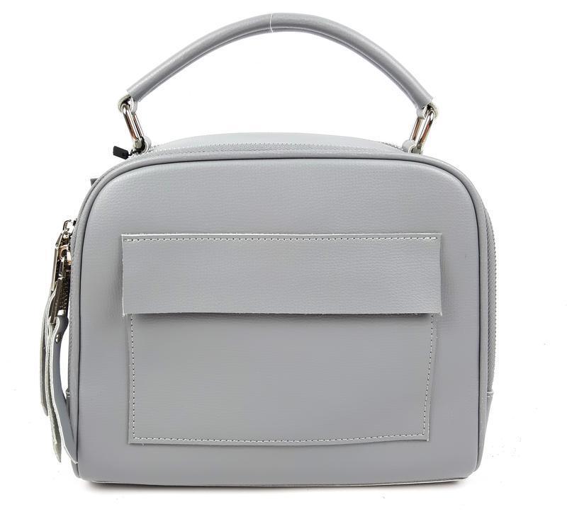 Классическая кожаная сумка серая galanty - Фото 5