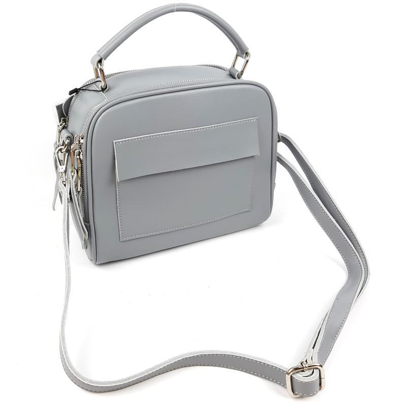 Классическая кожаная сумка серая galanty - Фото 6