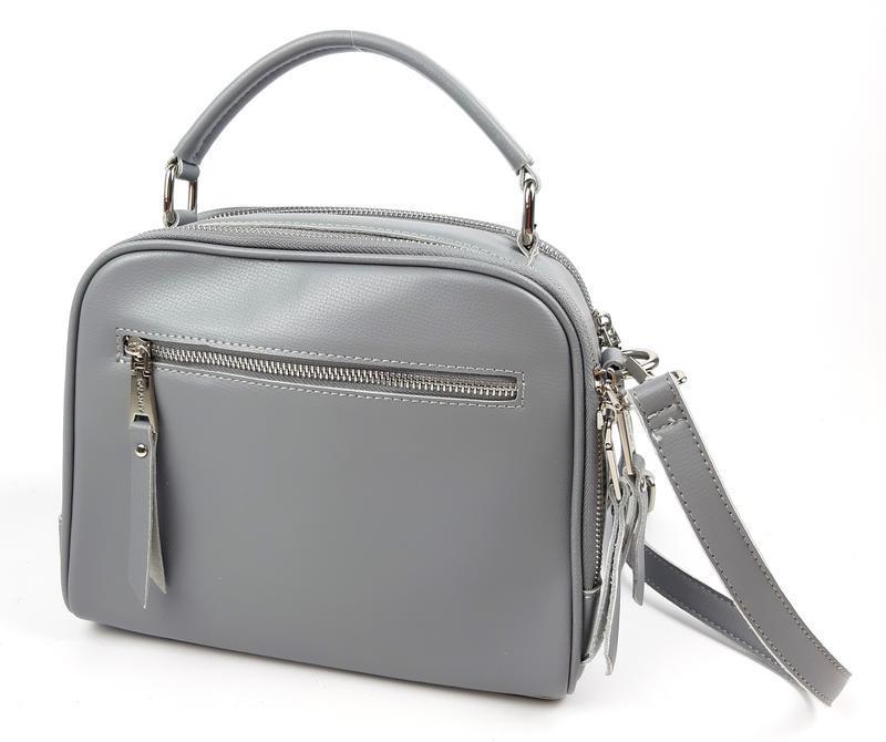 Классическая кожаная сумка серая galanty - Фото 8