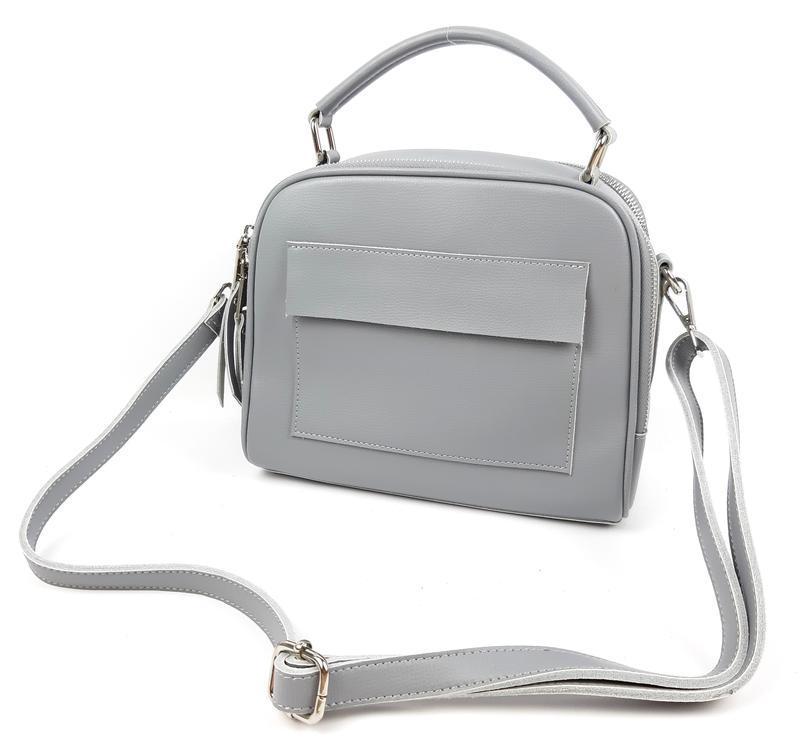 Классическая кожаная сумка серая galanty - Фото 9