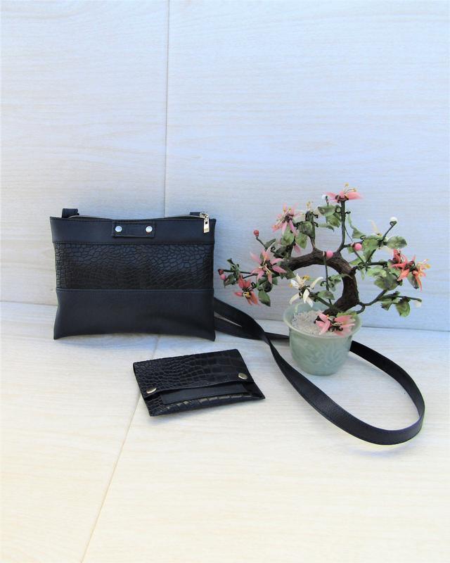 Темно - синяя сумочка handmade + кошелек в подарок