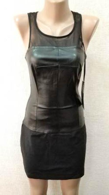 Стильное платье. кожа+джинс