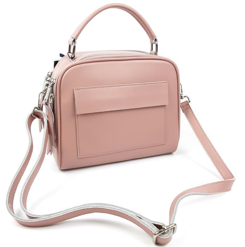 Женская кожаная сумка galanty розовая