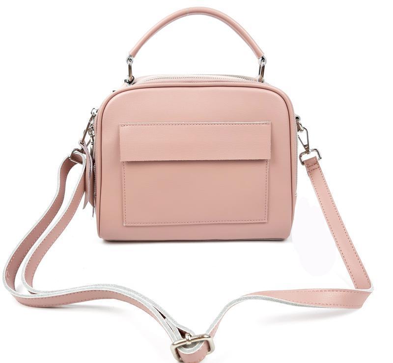 Женская кожаная сумка galanty розовая - Фото 2