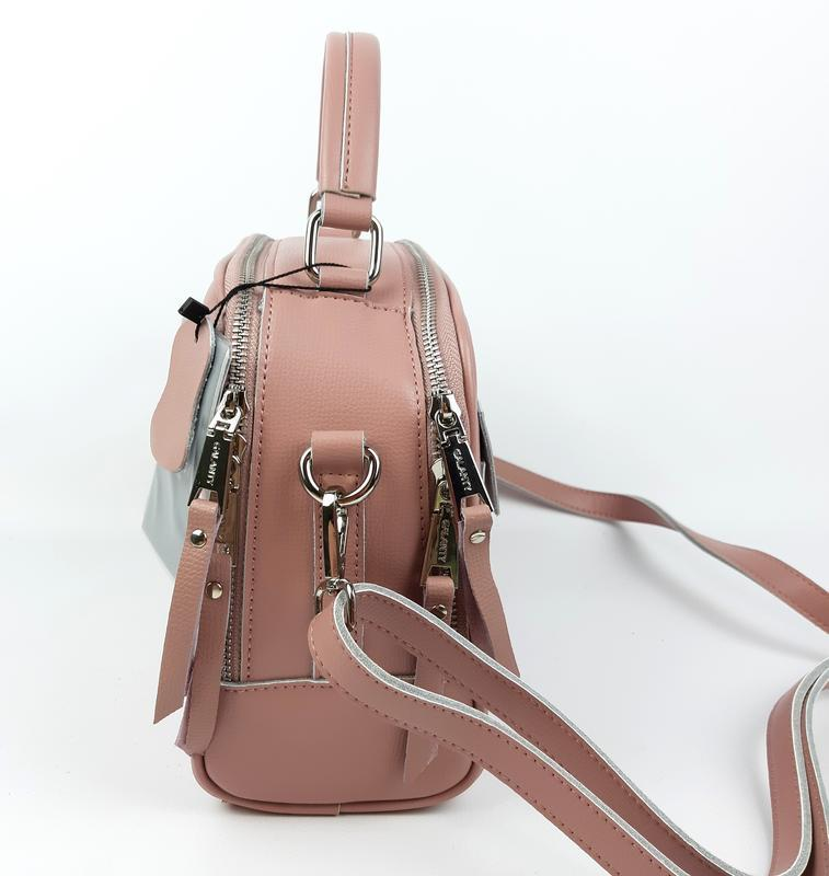 Женская кожаная сумка galanty розовая - Фото 3