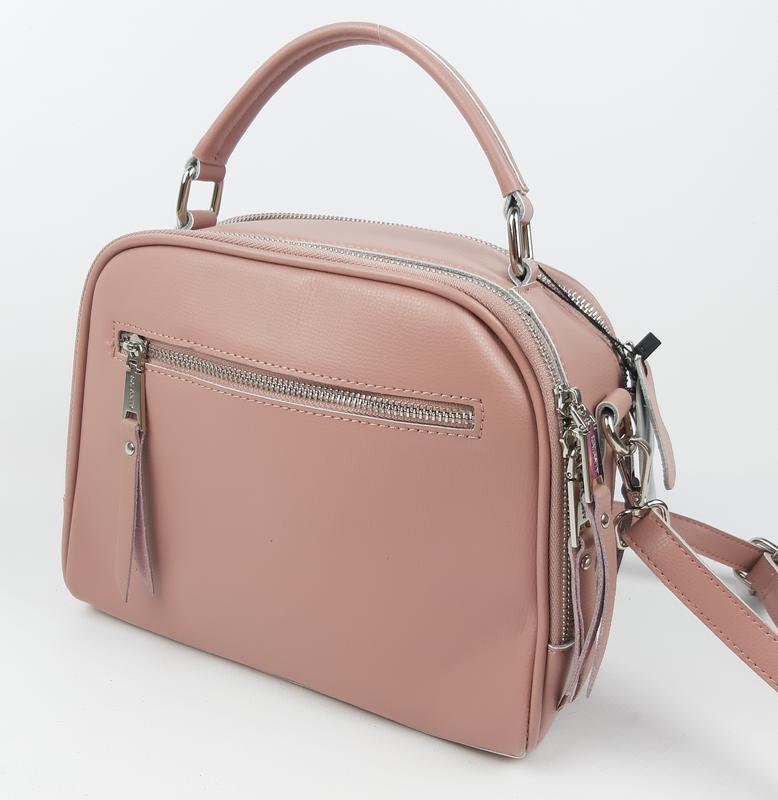 Женская кожаная сумка galanty розовая - Фото 4
