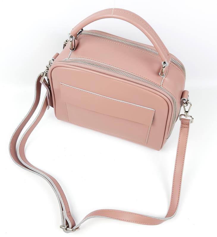 Женская кожаная сумка galanty розовая - Фото 5