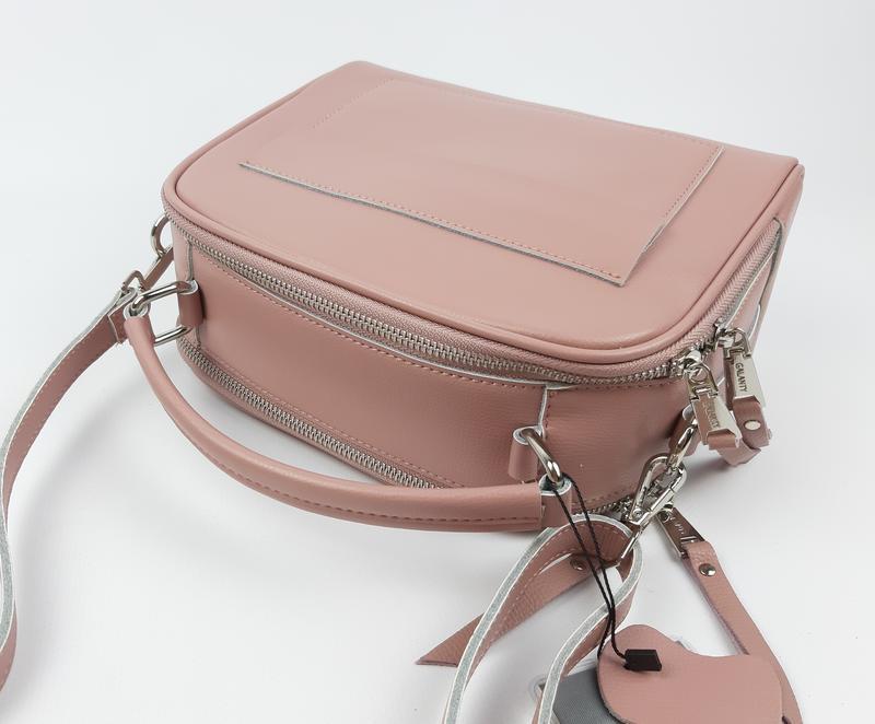 Женская кожаная сумка galanty розовая - Фото 7