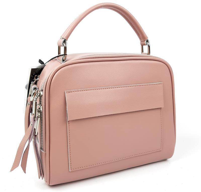 Женская кожаная сумка galanty розовая - Фото 9