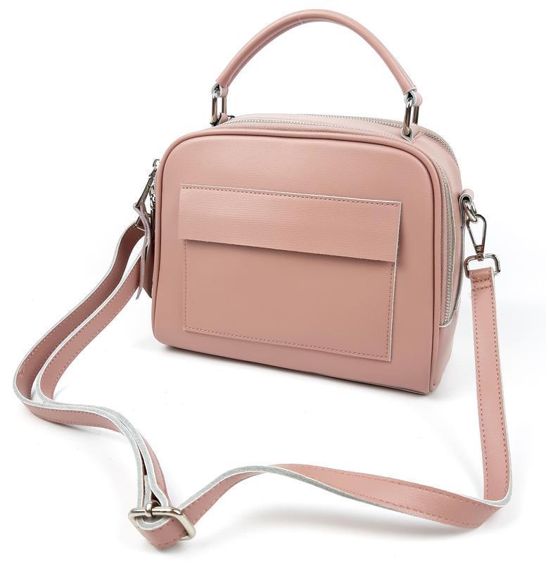 Женская кожаная сумка galanty розовая - Фото 10