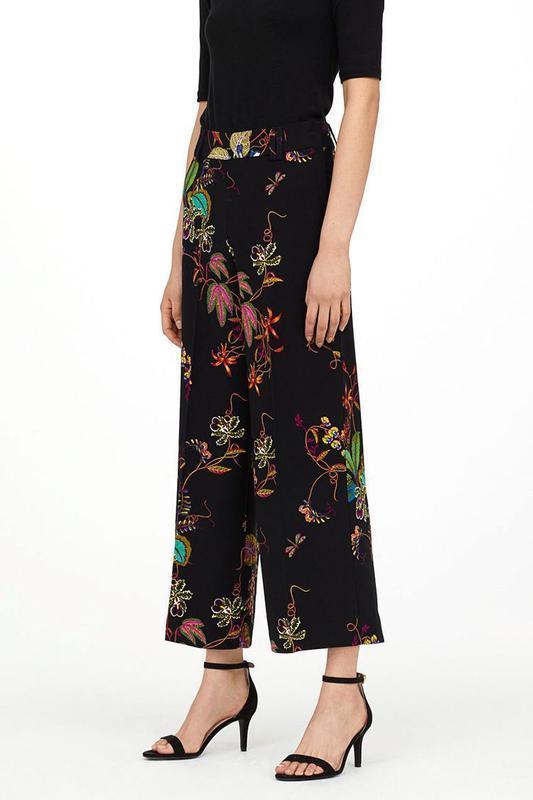 Кюлоты h&m широкие брюки штаны палаццо с цветочным принтом выс...