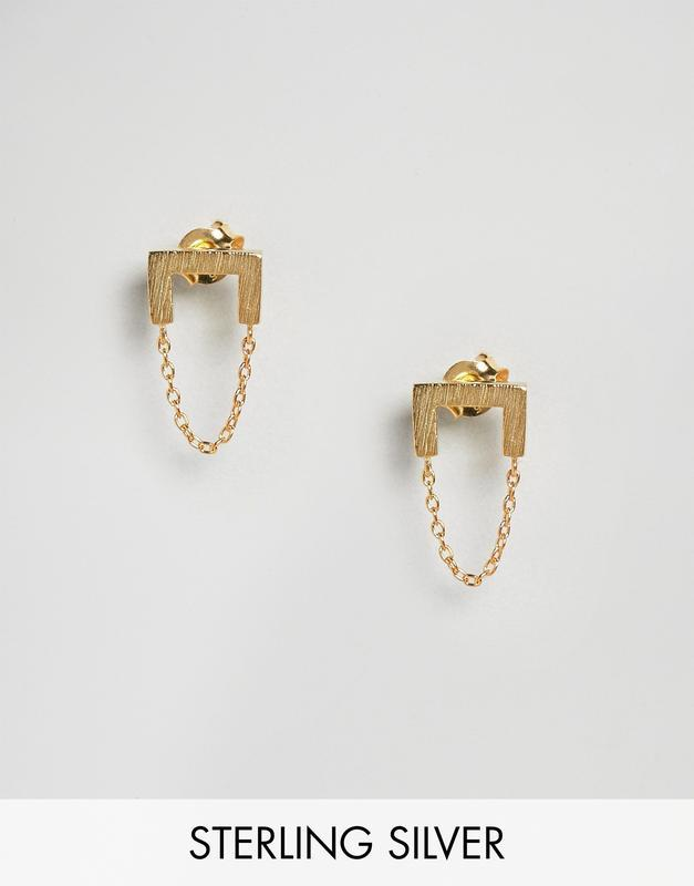 1+1=3 до 30/12 позолоченные серебряные серьги-подвески с цепоч...