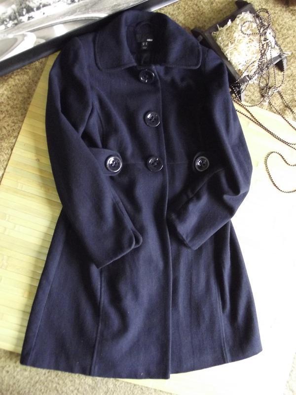 Пальто шерстяное h&m демисезонное