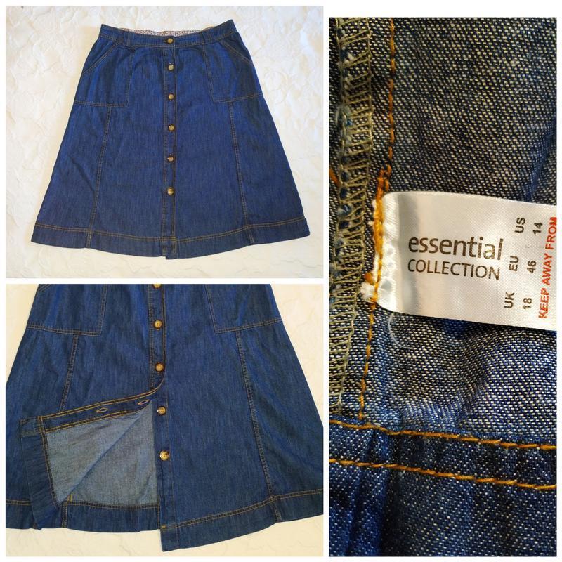 Стильная джинсовая юбка -трапеция на пуговицах