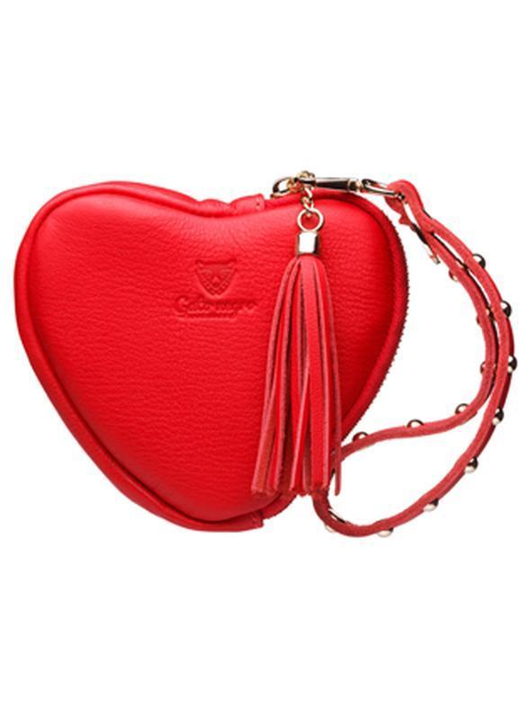 Женский кожаный кошелек gato negro красный в форме сердца