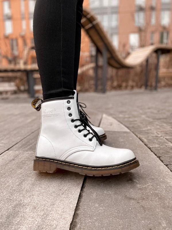 Женские зимние кожаные ботинки/ сапоги dr. martens white/ brow...