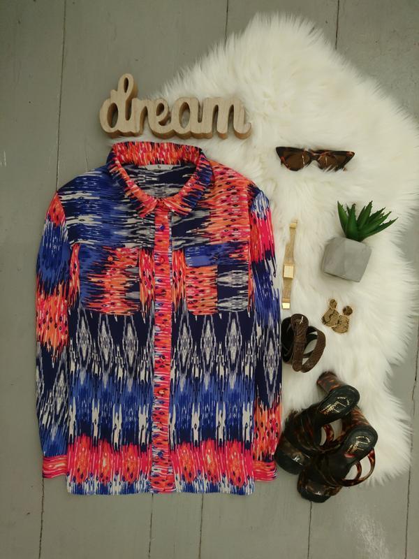 Актуальная стильная рубашка блуза в разноцветный принт №6max