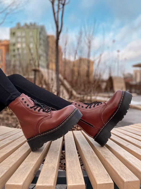 Женские зимние кожаные ботинки/ сапоги dr. martens jadon bordo...