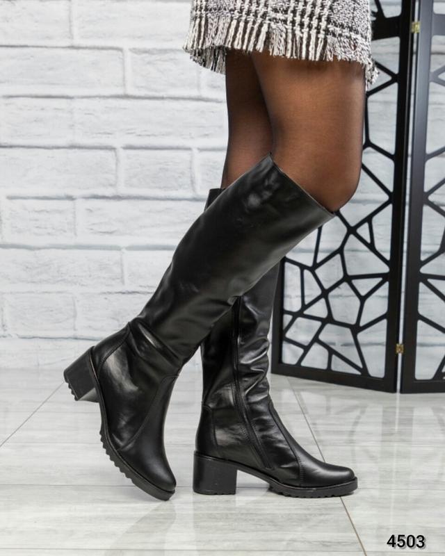 ❤ женские черные зимние кожаные высокие сапоги полусапожки бот...