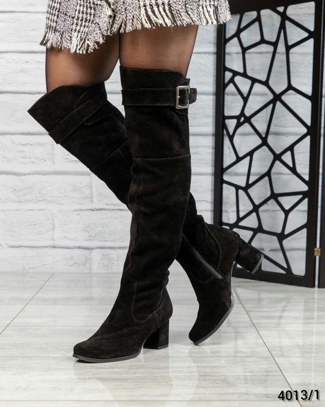 ❤ женские черные зимние высокие замшевые сапоги ботфорты полус...