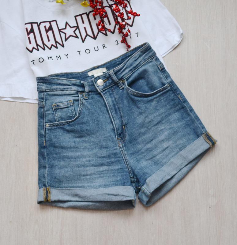 Стильные джинсовые шорты высокая посадка h&m