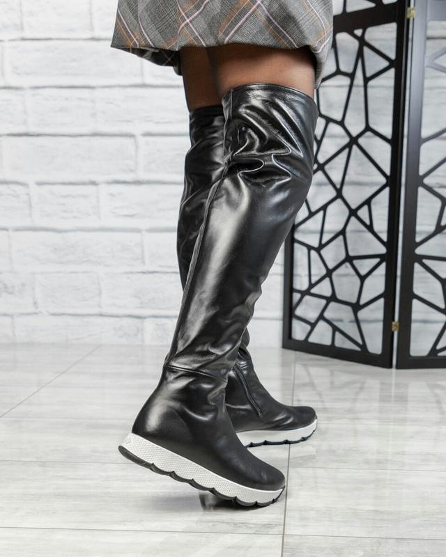❤ женские черные зимние кожаные высокие сапоги ботфорты полуса...