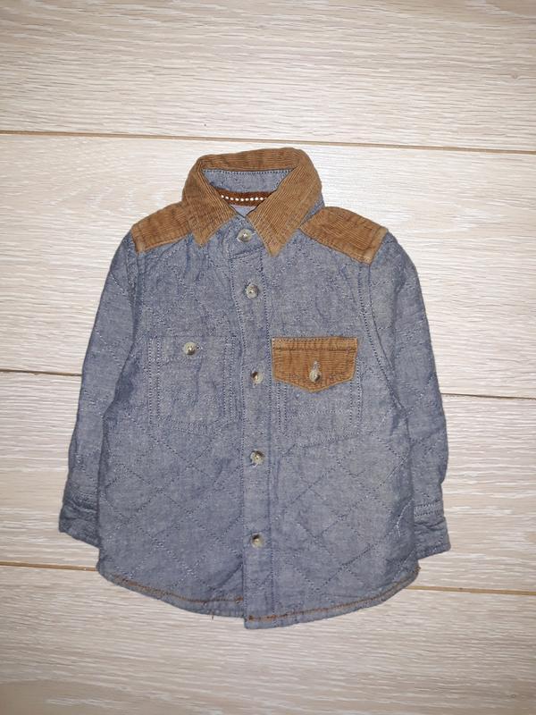 Тёплая стёганная рубашка rebel на 9-12 мес