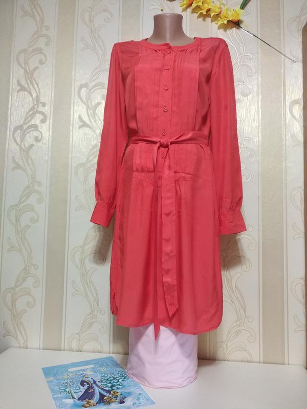 Кораловое платье рубашка, натуральная ткань, trenery.