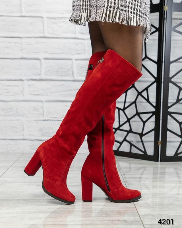 ❤ женские красные зимние замшевые высокие сапоги полусапожки б...