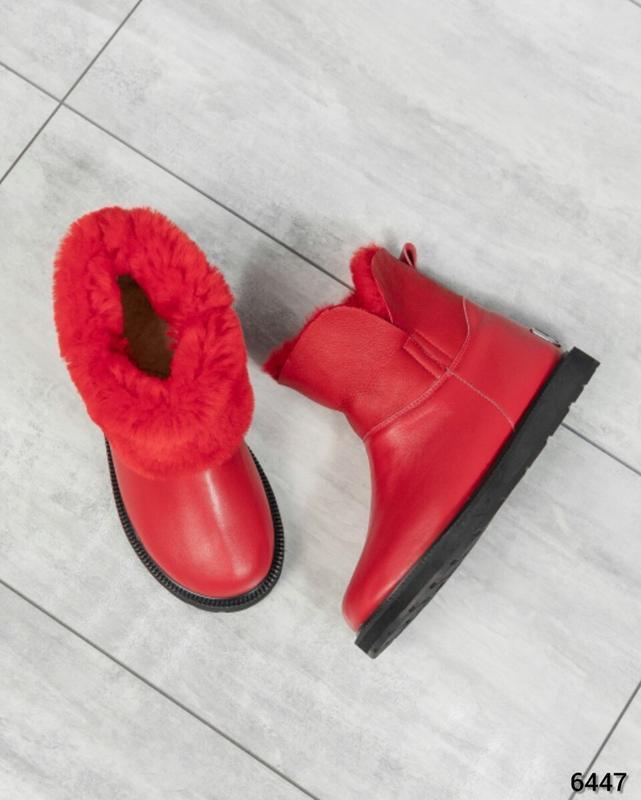 ❤ женские красные зимние кожаные угги ботинки сапоги полусапож...